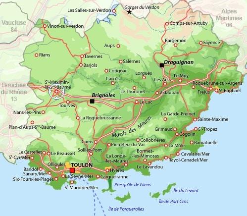 Carte de situation de St Maximin la Ste Baume